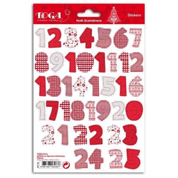 2 planches de Stickers de Noël chiffres rouges et blancs