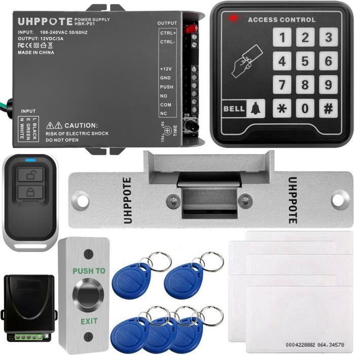 UHPPOTE Kit de Contrôle d'Accès Pour Une-porte Avec 125KHz RFID EM ID Carte Clavier et Serrure Électrique Télécommande