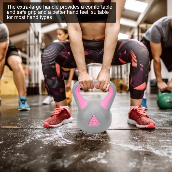 2KG double couleur Fitness Kettlebell Bras de musculation Haltère de bouilloire à prise large(Gris-QIW