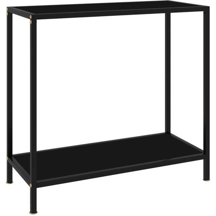 Zhihushop - Table console Noir 80x35x75 cm Verre trempé - 64837