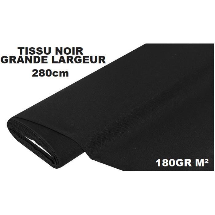 280CM  IDÉAL PHOTO   toile coton 100/% 3 Métres TISSU NOIR GRANDE LARGEUR