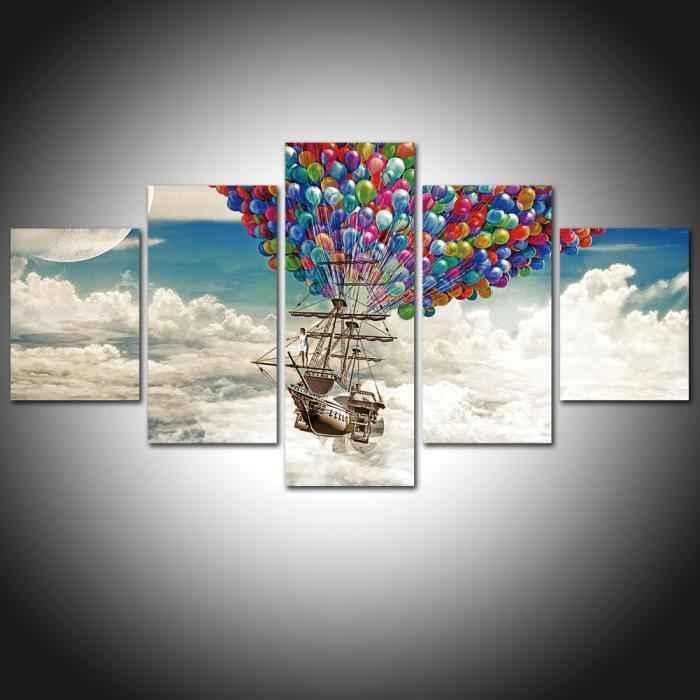 sans cadre peinture sur toile d coration d coration murale tv d coration hot air balloon. Black Bedroom Furniture Sets. Home Design Ideas