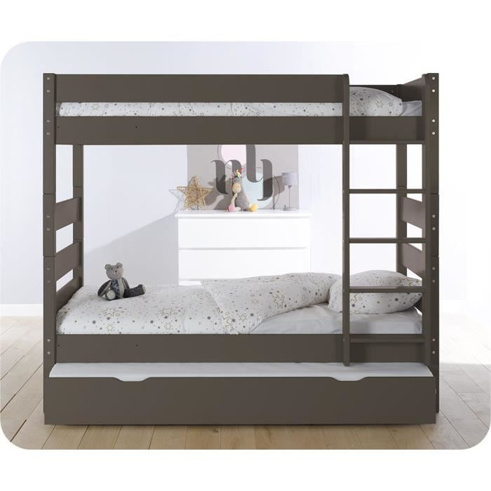 pack lit superpos kids taupe avec tiroir de lit et 2. Black Bedroom Furniture Sets. Home Design Ideas