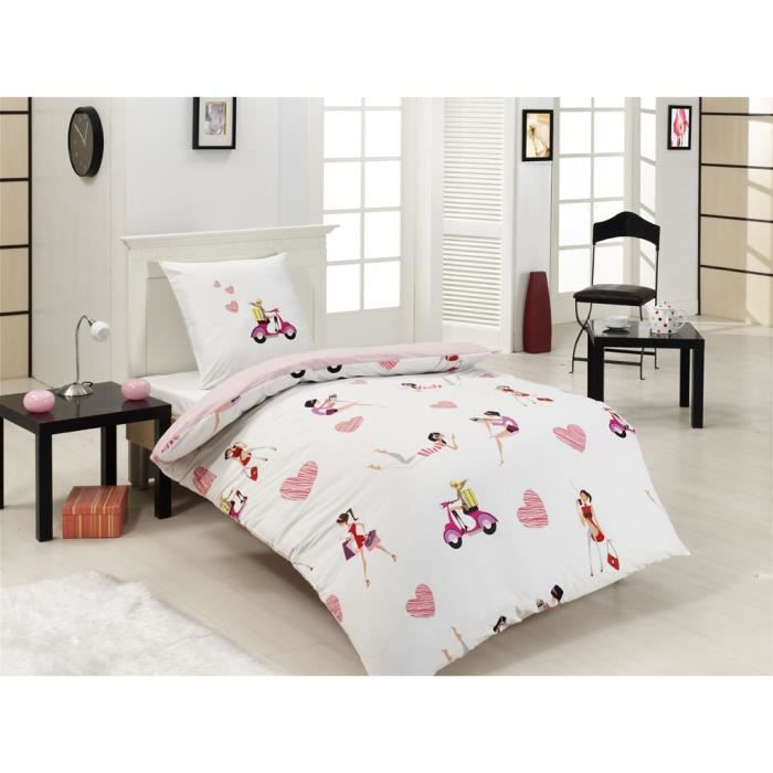 parure housse de couette en imprim e enfant girls achat. Black Bedroom Furniture Sets. Home Design Ideas