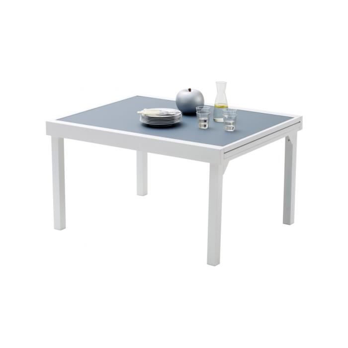 Table de jardin rectangulaire extensible aluminium blanc - Table de jardin verre ...