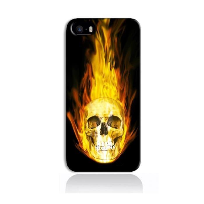 coque iphone 5 5s tete de mort flamme