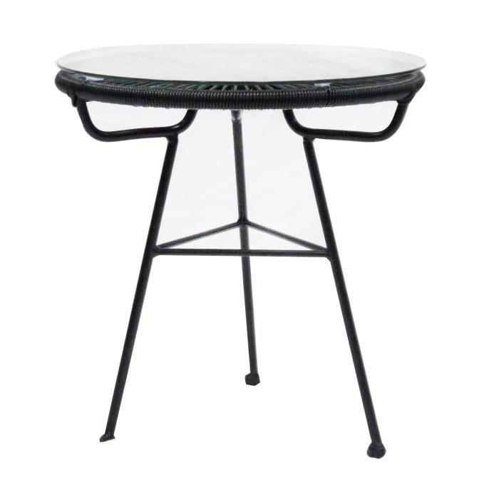 Bentley - Table ronde de jardin/salon - rétro - rotin - bleu ...