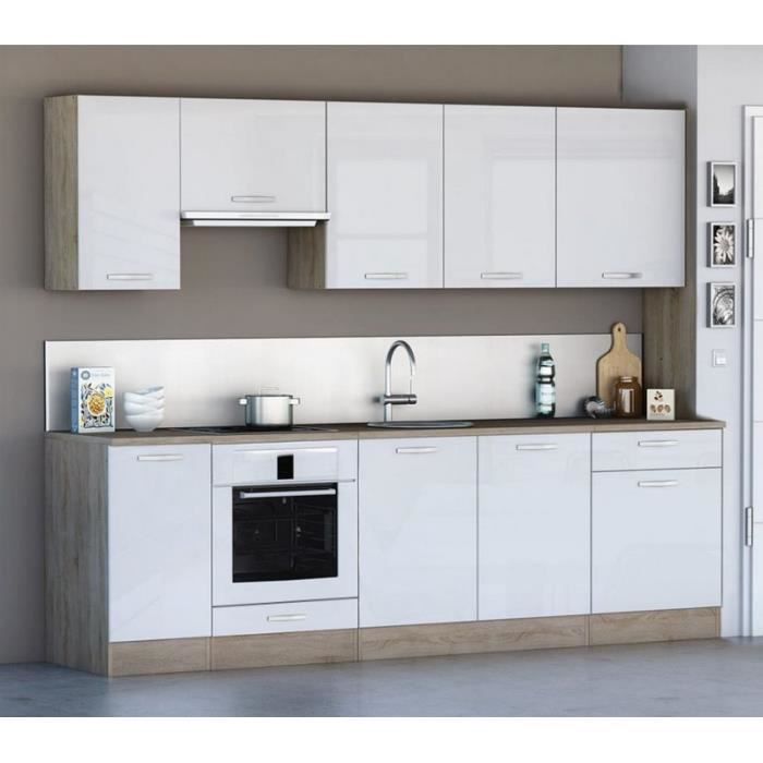 cuisine compl te 260 cm scand style scandinave nordique blanc et bois achat vente cuisine. Black Bedroom Furniture Sets. Home Design Ideas