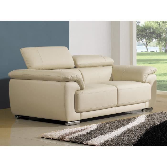 canape cuir beige 2 places marjorie achat vente canap sofa divan cdiscount. Black Bedroom Furniture Sets. Home Design Ideas