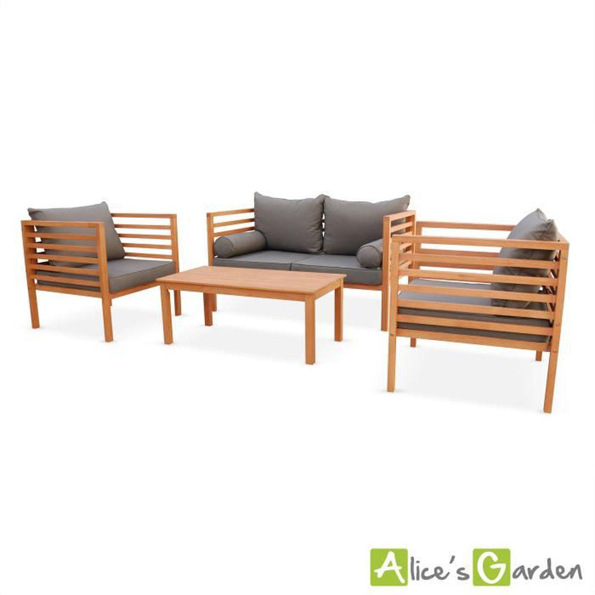 Salon de jardin Cordoba en bois, coussin gris anthracite, 4 ...