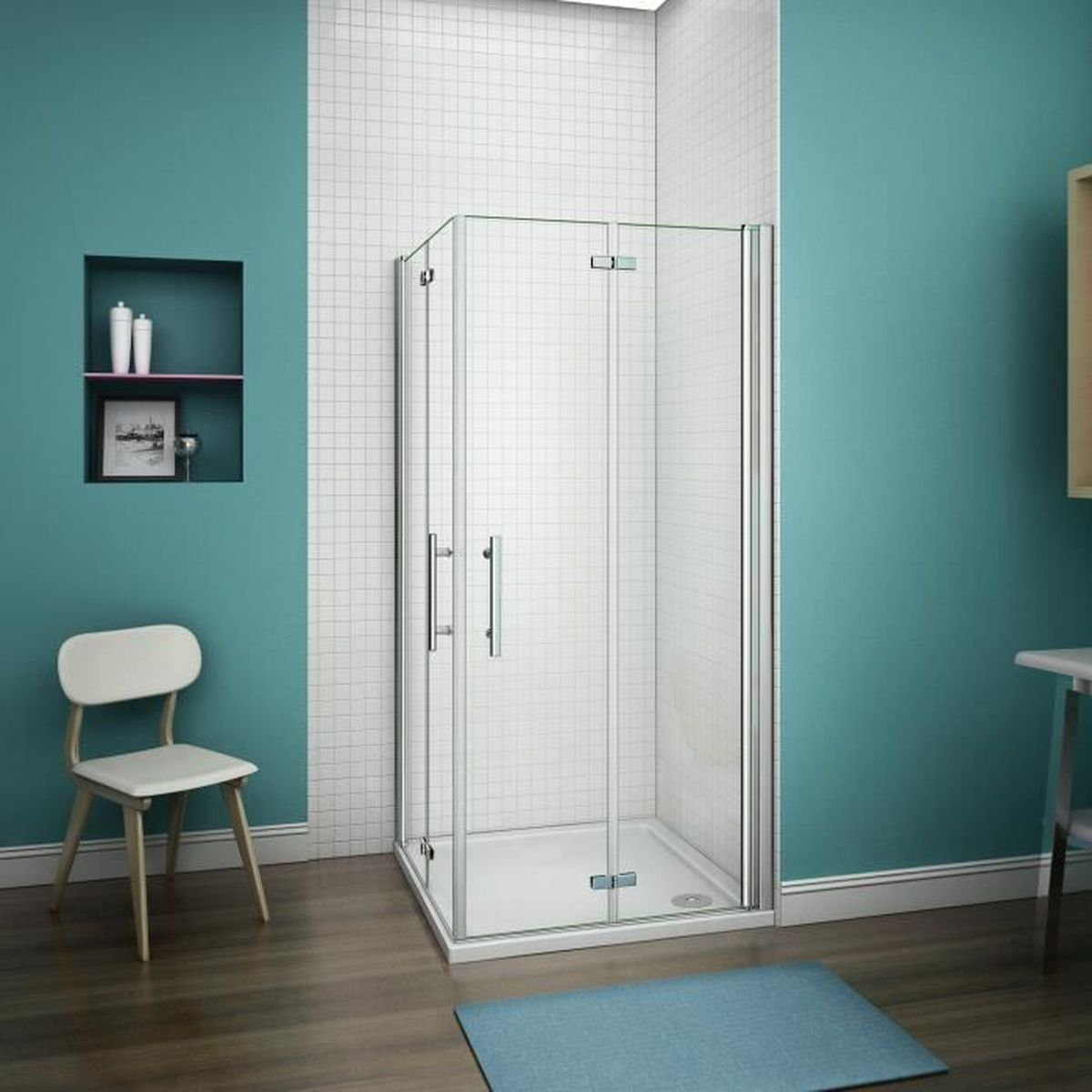 70 70 185cm shower enclosure porte de douche pliante for Porte de douche pliante