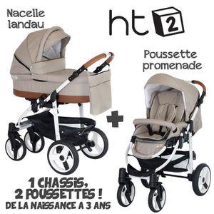 POUSSETTE  Poussette Combinée Duo 2 en 1 HT2 Beige - Caramel
