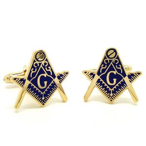 BOBIJOO Jewelry Boutons de Manchette Franc Ma/çon Laiton Dor/é /à lor Fin Email Bleu Ovale Ma/çonnerie Masonic Freemason