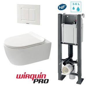 WC - TOILETTES Pack complet WC Suspendu Sans Bride COMPACT + Bâti