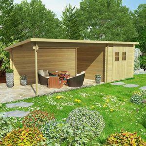 GARAGE Cabanon de jardin en rondins Bois massif 28 mm, 7,