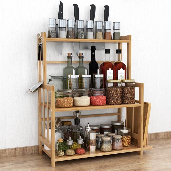 Support à épices debout réglable à 3 niveaux, organisateur de rangement en bambou avec porte-couteau et support de planche à découpe