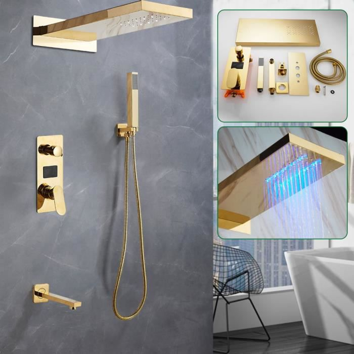 Robinet de douche LCD encastré douche pluie douche à main ensemble de douche système de douche-Or