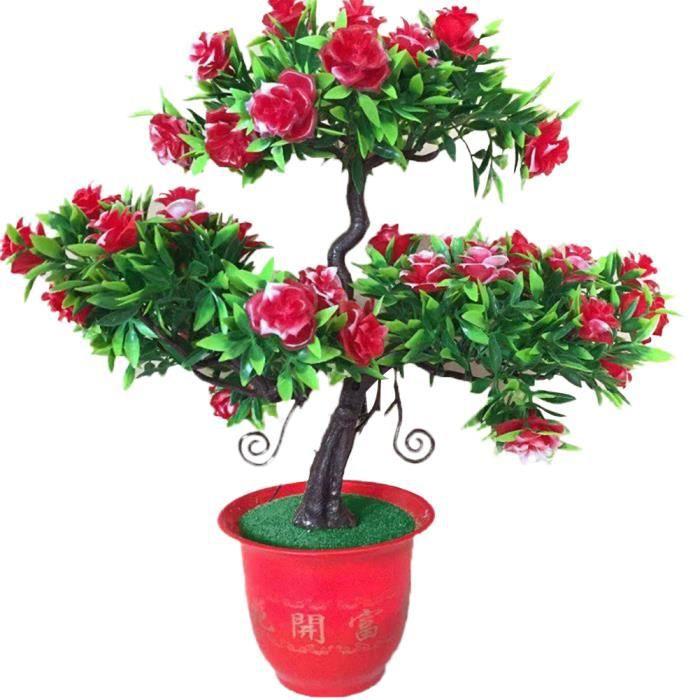 Fleur artificielle Rose Guest Salutation Pin Plant Pot rouge