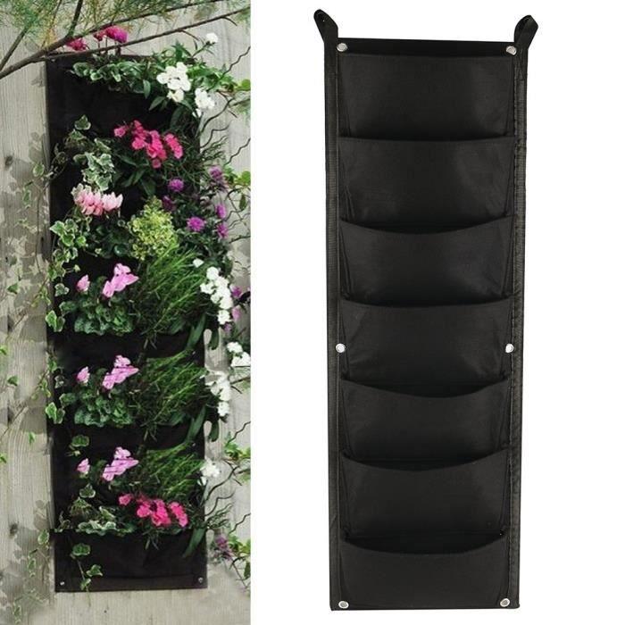 La plantation cultivent des sacs 7 poches Tenture murale jardinière extérieure jardinage intérieur vertical conteneur de fleurs vert