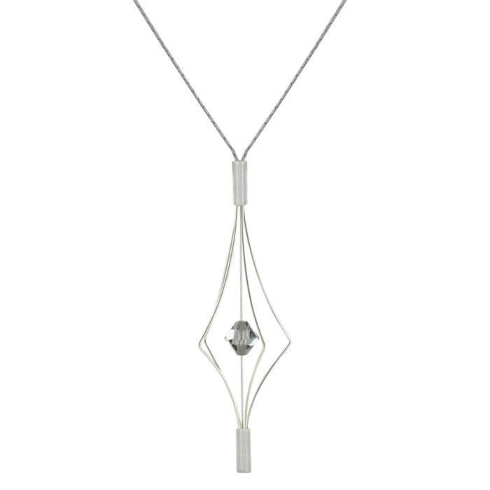 Les Poulettes Bijoux - Collier Argent Lanterne et Swarovski - Grand Modèle - Gris