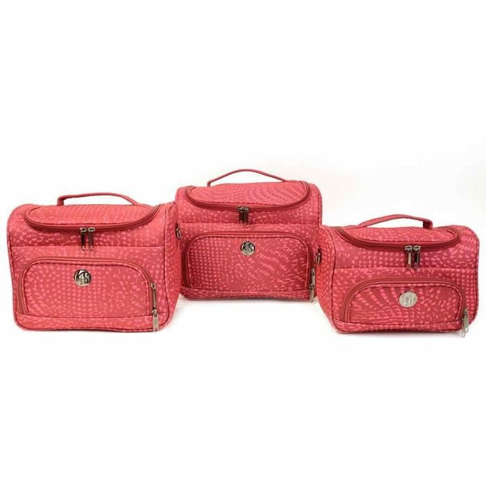 Lot de 3 vanity case souples KINSTON - rose