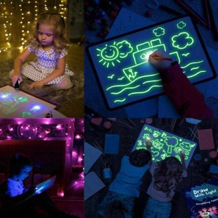Doodle Drawing Mat,Enfant Doodle Planches,Lumineuse Enfant Ardoise Magique Pad Drawing Board Set Magic Draw avec La LumièRe Enfant
