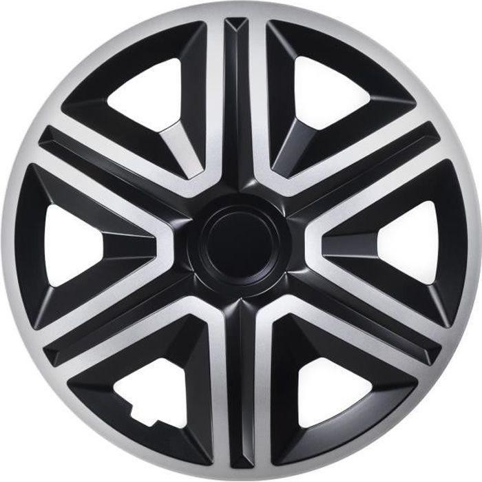 Enjoliveurs de roues ACTION noir-argent 16 - lot de 4 pièces