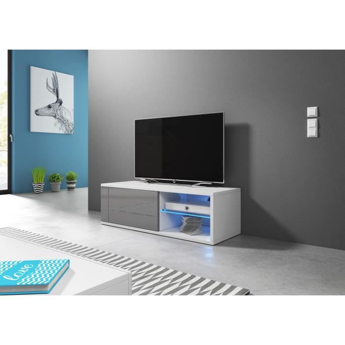 Meuble TV moderne Azalia LED BLANC/GRIS BRILLANT 100cm