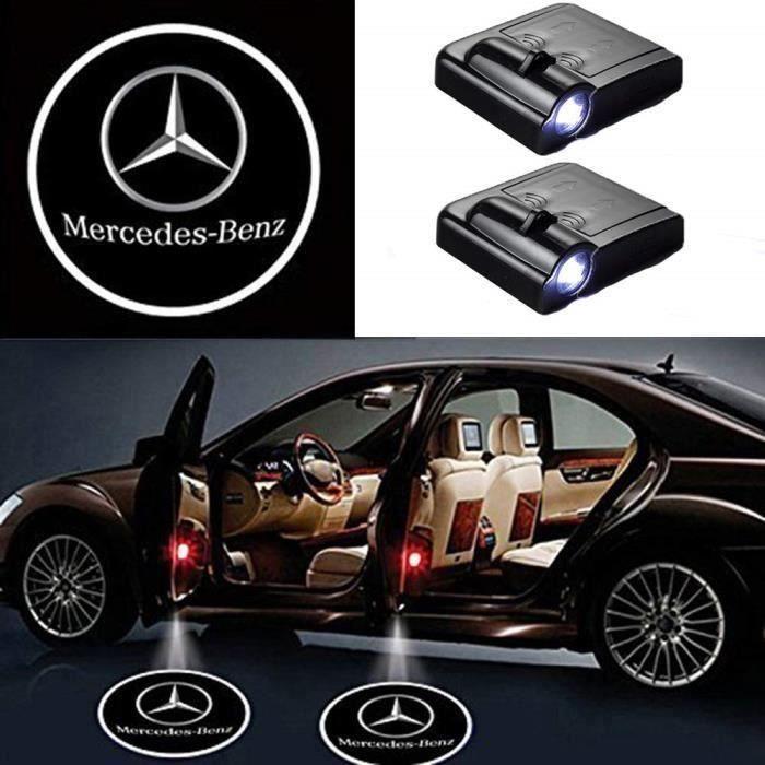 2 Pcs Porte De Voiture Sans Fil Led Bienvenue Laser Projecteur Logo Lumière Lampe Fantôme Ombre Lumière Logos (Mercedes) My09141