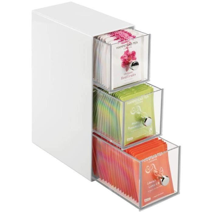 boite de rangement cuisine avec 3 tiroirs – casier de rangement pour sachets de thé, tisane, infusion, dosette de café, édulcorant,