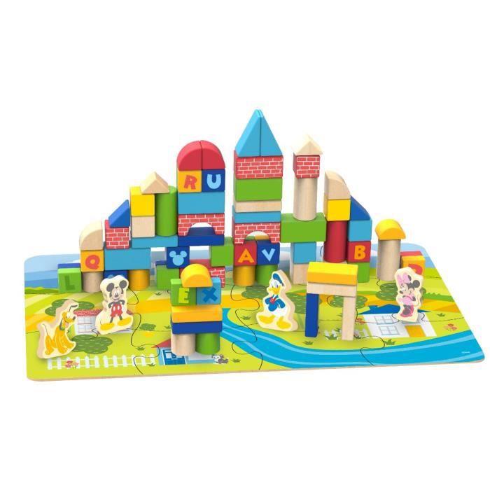 Disney - Blocs de construction Mickey en bois - 92 pcs