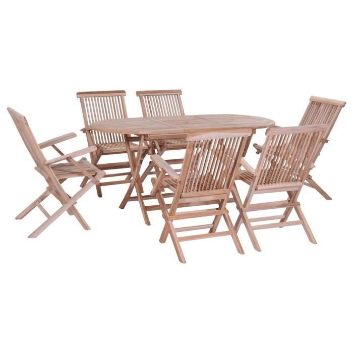 Excellent - Salon de jardin 7 pcs - Ensemble repas de jardin d'extérieur pliable Meuble de jardin - Bois solide de teck #392476