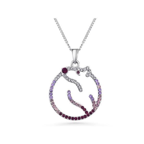 Pendentif Ours Polaire Cristal Swarovski Elements Violet et Plaqué Rhodium