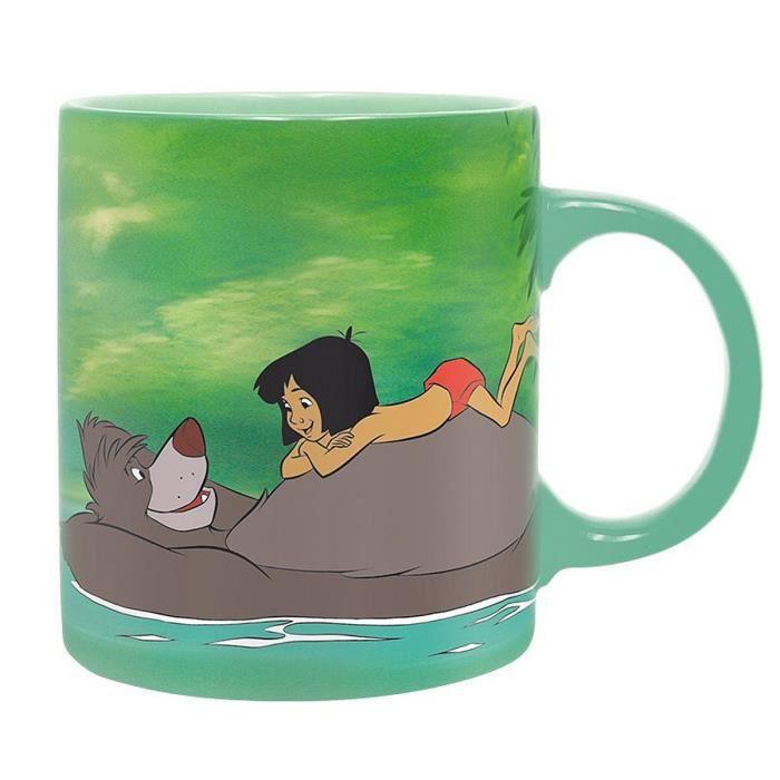 Tasse Disney Le Livre de la ju Mowgli et Baloo turquoise, imprimé, en céramique, capacité env. 320 ml., emballage cadeau. 9,5 cm