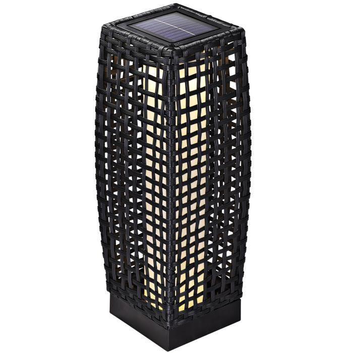 Lampe solaire lumière jardin polyrotin noir 50cm panneau solaire 25 LED IP44 robuste résistante aux intempéries