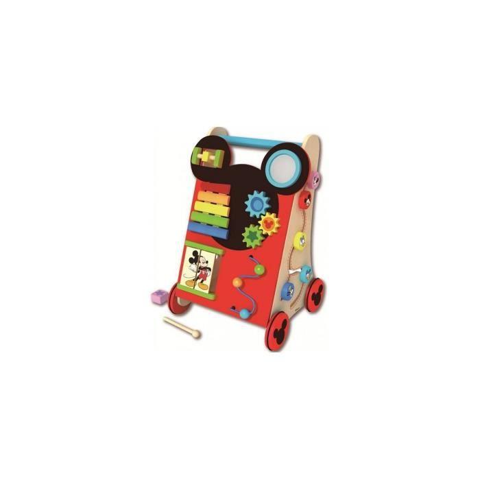 Chariot de marche en bois multi activites Mickey - Jouet d'eveil Disney Baby - Trotteur, pousseur Bebe