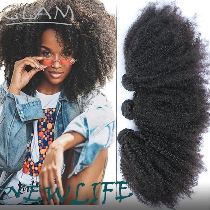 3 tissage meches Indien afro kinky curly vierge de cheveux humains 16 pouces,100g-piece