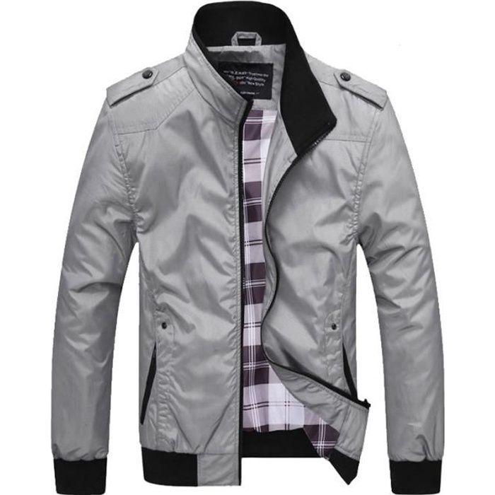 Veste Hommes debout col veste Couleur unie veste Printemps et automne veste ,Gris,XXXL