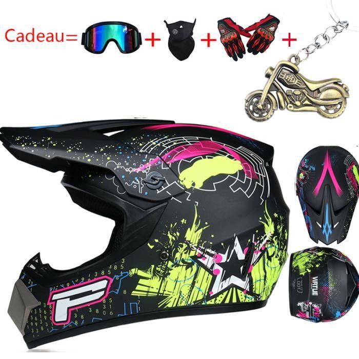 Casque Moto Enfant Casque de Marque Motocross Racing Armure complète Casque mat intégral Pleine Couverture Casque Hors-Route