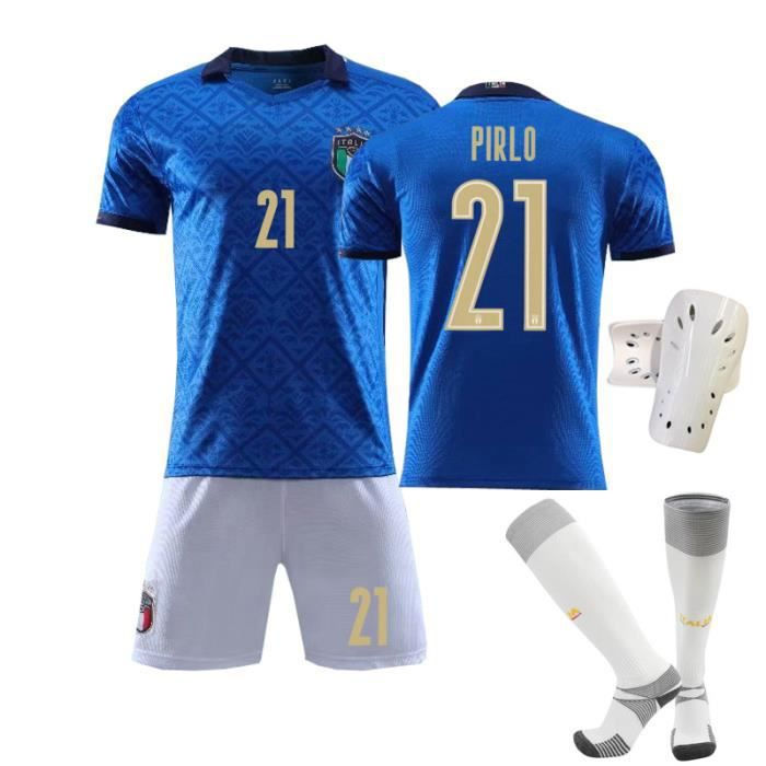 Maillot de Football Italie Domicile 2020-2021 21 Pirlo Collection d'Italie Bleu Tenue + Chaussette + Support Protection pour Adulte