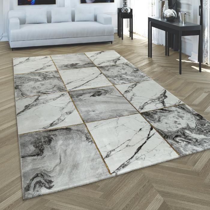 Tapis Salon Or Gris Motif Diamants Doux Marbre Design Moucheté À Poil Court [160x230 cm]