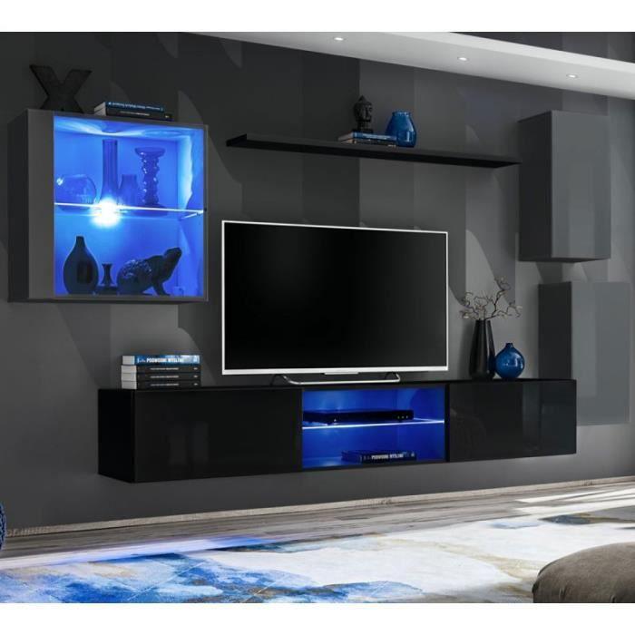 Ensemble Meuble Tv -switch Xxiii- 250cm Gris & Noir - Paris Prix