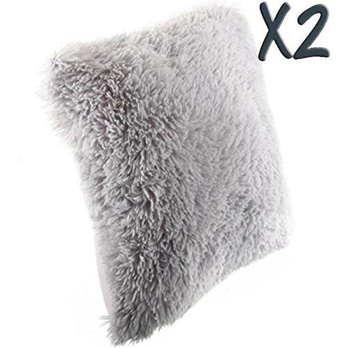 Lot de 2 Coussins imitation fourrure poil long Gris, 40 x4 0 cm