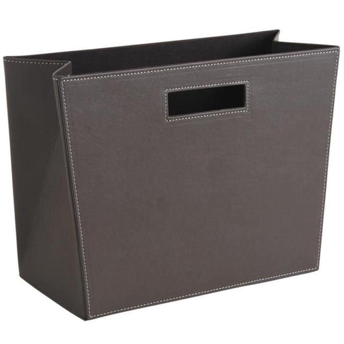 Porte-revues rectangulaire en simili cuir taupe, 36 x 16 x 25 cm