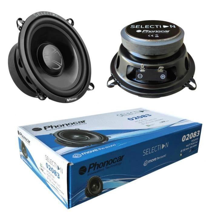 2 PHONOCAR 02083 haut-parleurs woofer 13,00 cm 130 mm 5- de diamètre 50 watts rms 140 watts max 4 ohms 90 db spl voiture, la paire