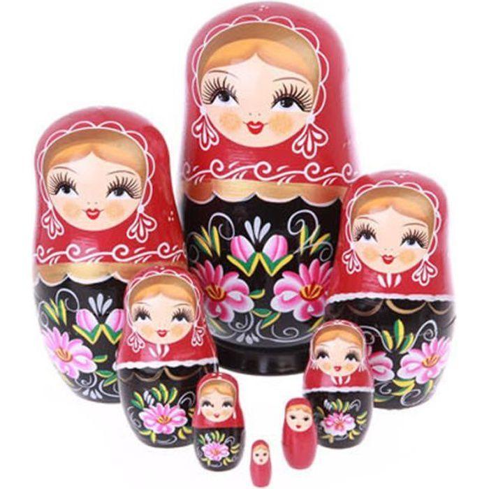 Lot de 8 Matriochka de fille russe poupée fait à la main en bois poupée gigogne russe