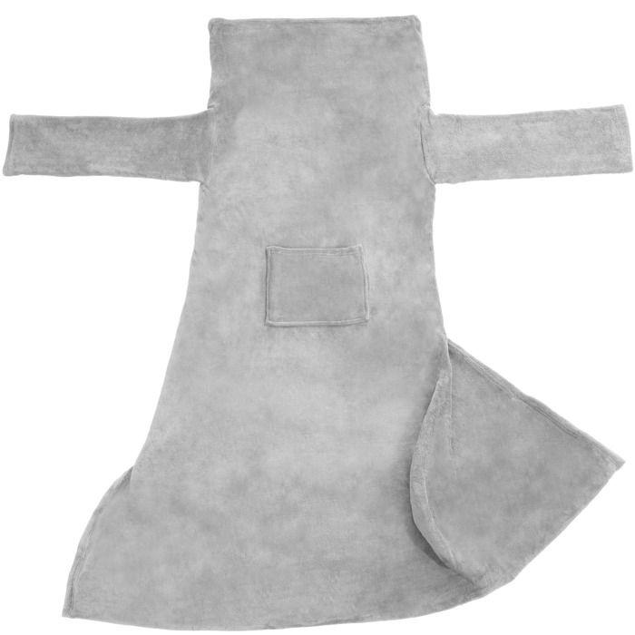 TECTAKE Plaid Canapé avec manches doux - Polyester - Gris - 180 x 150 cm