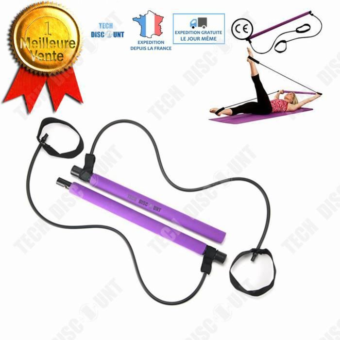 TD® Corde à Sauter-Sport- Élastique de Résistance- Equipement de fitness Pilates- Bâton multifonctionnel élastique tige muscle