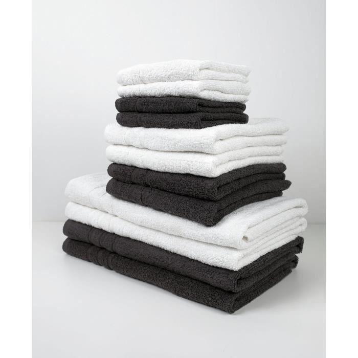 SHOT CASE - TODAY Lot de 10 Serviettes de bain - 100% coton - Chantilly et gris TODAY