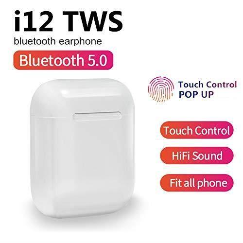 i12 TWS Bluetooth 5.0 Écouteurs sans Fil avec Microphone intégré + étui de Protection pour boîte de Chargement. Compatible avec Tou